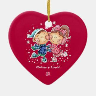 Primer ornamento del navidad del navidad adorno navideño de cerámica en forma de corazón