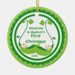Primer ornamento del navidad del pequeño gemelo ornamento de navidad