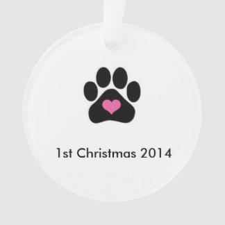 Primer ornamento del navidad del perro