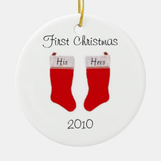 Primer ornamento del navidad del personalizado adorno navideño redondo de cerámica
