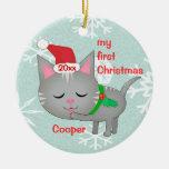 Primer ornamento del navidad del personalizado adornos