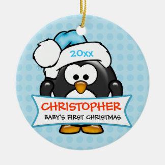 Primer ornamento del pingüino del navidad del bebé adornos