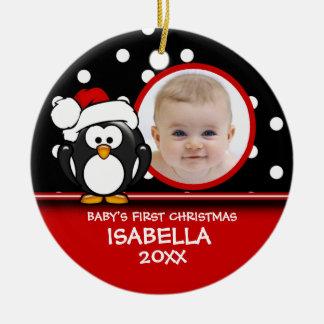 Primer ornamento del pingüino del navidad del bebé ornamento para reyes magos