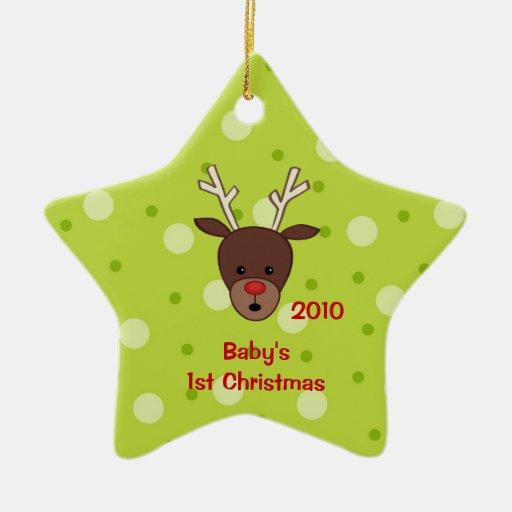 Primer ornamento del reno del navidad del bebé adorno navideño de cerámica en forma de estrella
