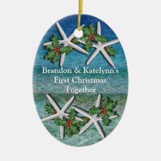 Primer ornamento personalizado navidad tropical adorno de reyes
