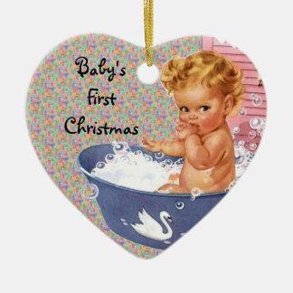 Primer ornamento retro del navidad de Babys Ornamento De Navidad