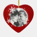 Primer ornamento romántico de la foto del navidad ornamento de navidad