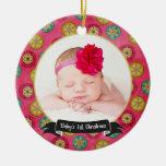 Primer ornamento/rosa de la foto del navidad del adornos de navidad