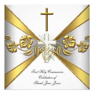 Primer oro 2 florales blancos de la comunión santa