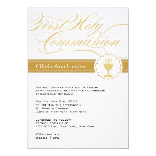 Primer oro de las invitaciones el | de la comunión invitaciones personalizada