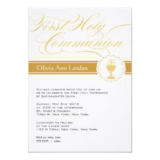 Primer oro de las invitaciones el | de la comunión invitación 12,7 x 17,8 cm