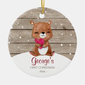 Primer oso de la acuarela del ornamento el | del adorno navideño redondo de cerámica