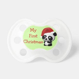 Primer oso de panda de Santa del navidad del bebé  Chupetes