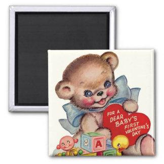 Primer oso del el día de San Valentín del bebé lin Imán De Nevera