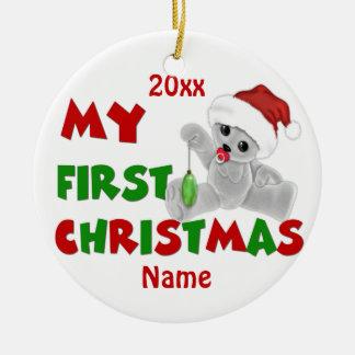 Primer oso del navidad de Babys personalizado Adorno Navideño Redondo De Cerámica