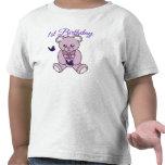 Primer oso y ButterfliesT-Camisa del cumpleaños