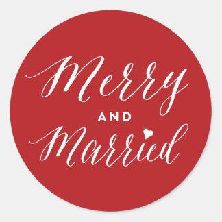 Primer pegatina feliz y casado del día de fiesta