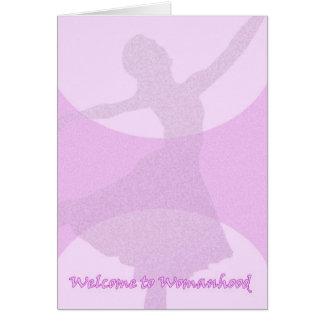 Primer período, 1r período, condición de mujer tarjeta de felicitación