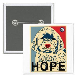 primer perrito de obama - esperanza pin cuadrada 5 cm