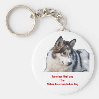 Primer perro del indio del nativo americano del do llavero personalizado