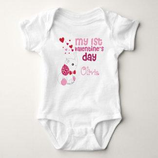 Primer personalizado del el día de San Valentín de Mameluco De Bebé