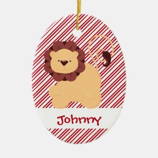 Primer personalizado del león del bebé del navidad adorno ovalado de cerámica