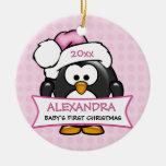 Primer pingüino del navidad del bebé personalizado adorno de reyes