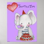 Primer poster del elefante del cumpleaños para los