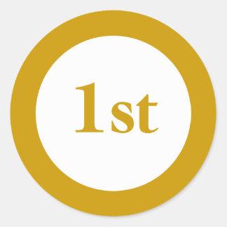 Primer premio del lugar pegatina redonda