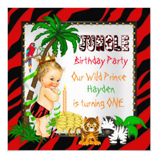 """Primer príncipe salvaje Blonde del safari de selva Invitación 5.25"""" X 5.25"""""""