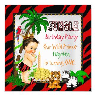"""Primer príncipe salvaje Brunette del safari de Invitación 5.25"""" X 5.25"""""""
