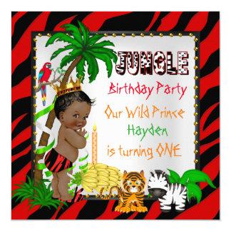 """Primer príncipe salvaje Ethnic del safari de selva Invitación 5.25"""" X 5.25"""""""