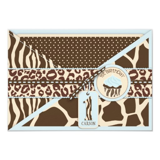Primer recinto azul del cumpleaños del safari y de invitación 8,9 x 12,7 cm