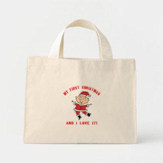 Primer regalo del bebé del navidad bolsa tela pequeña
