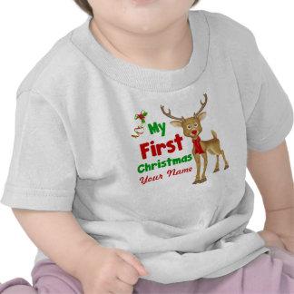 Primer reno del navidad del bebé camisetas