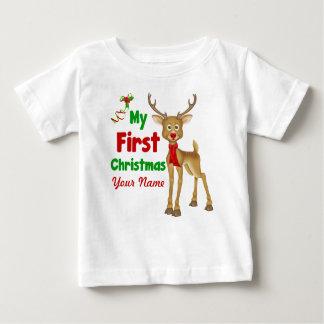 Primer reno del navidad del bebé playera de bebé
