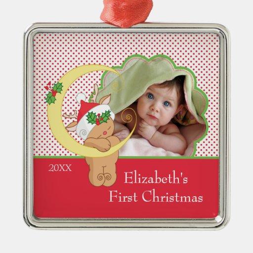 Primer reno del ornamento de la foto del navidad d ornamento para arbol de navidad