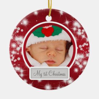 Primer rojo de la chispa del invierno del navidad ornamento de navidad