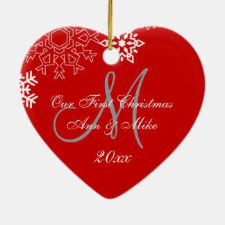 Primer ROJO del monograma del ornamento el del n Adorno De Navidad