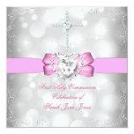 Primer rosa blanco de la comunión santa del chica invitación