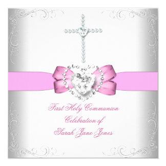 """Primer rosa blanco de la comunión santa del chica invitación 5.25"""" x 5.25"""""""