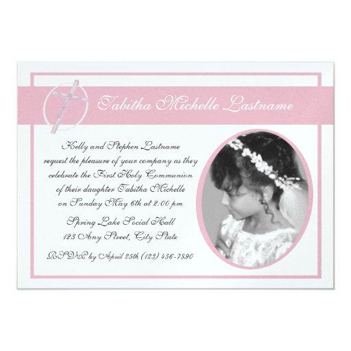 Primer rosa de la foto de la comunión invitación personalizada