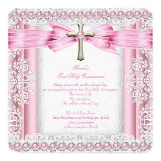 Primer rosa del bonito de la cruz de la comunión invitación 13,3 cm x 13,3cm
