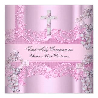 Primer rosa del cordón de la comunión santa del invitación 13,3 cm x 13,3cm