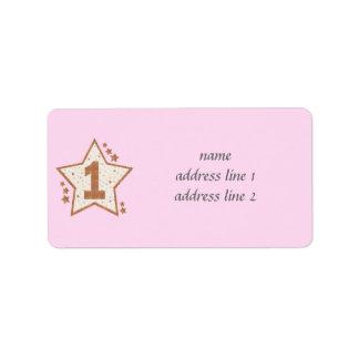 Primer rosa del cumpleaños y estrella del oro etiquetas de dirección
