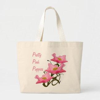 Primer rosado bonito de la amapola de la pila bolsa tela grande