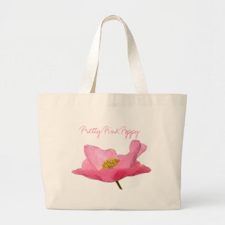 Primer rosado flotante de la amapola bolsa tela grande