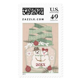 Primer sello de los pares de la nieve del navidad