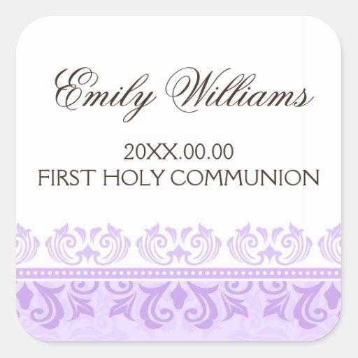 Primer sello del sobre de la comunión del damasco  colcomanias cuadradases