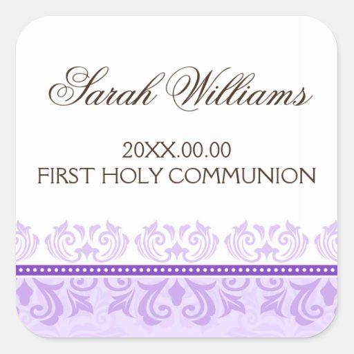 Primer sello del sobre de la comunión del damasco  pegatinas cuadradases personalizadas